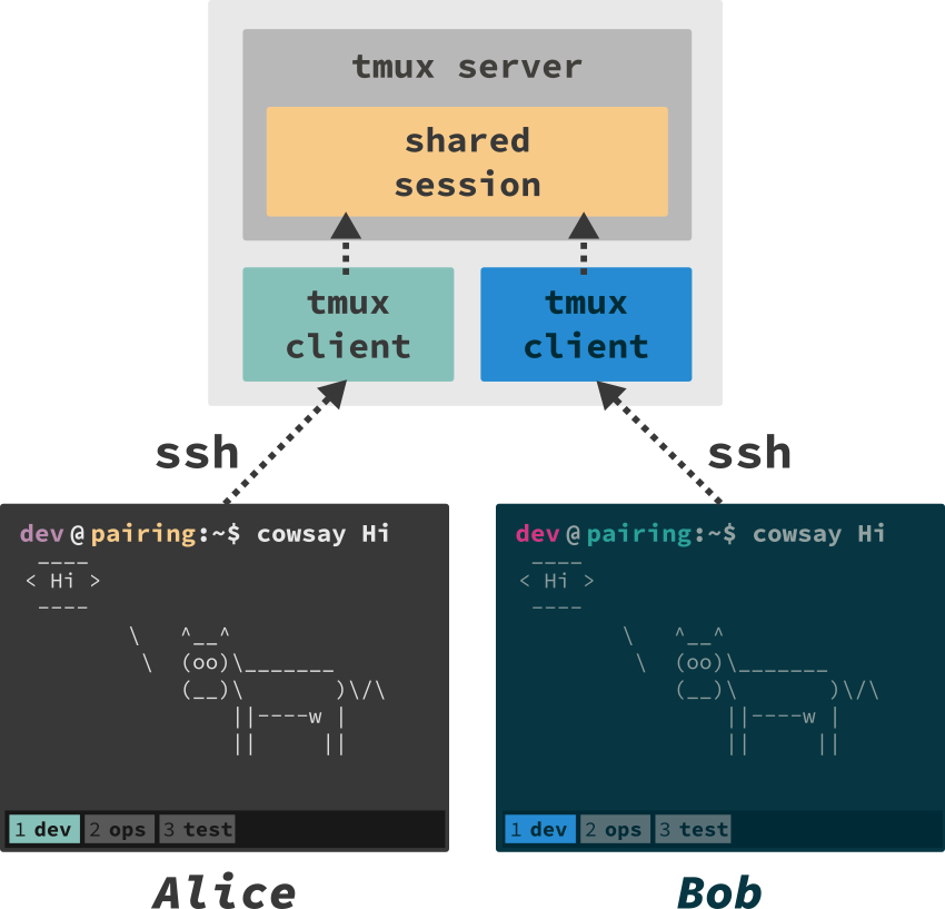 synchronized session sharing with tmux